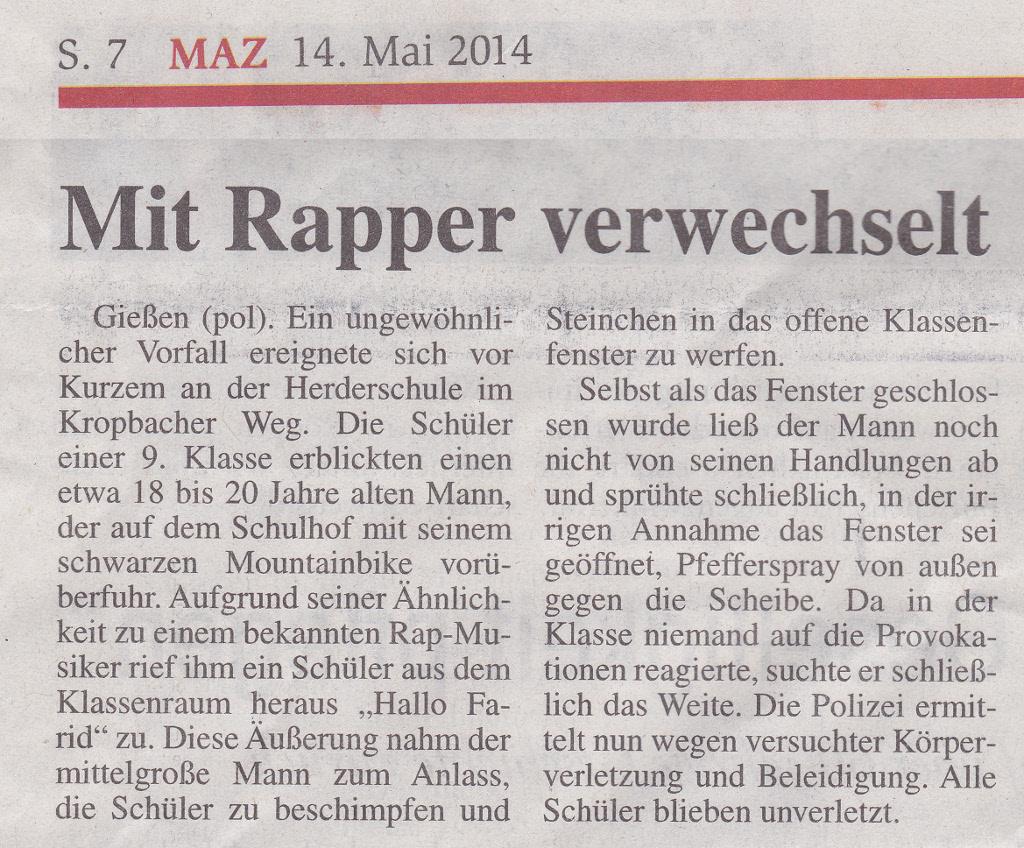 Mit Rapper verwechselt - Hallo Farid - MAZ Giessen